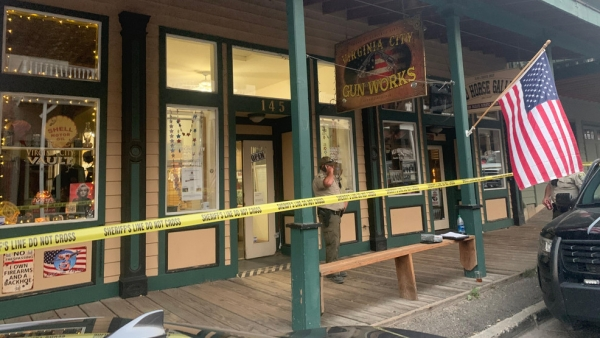 Two men shot and killed at Virginia City gun store. Photo Courtesy of Fox 11 Reno